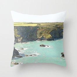 Cornish coastline Throw Pillow