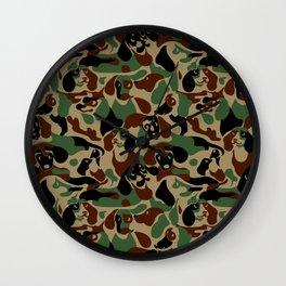 Dachshund  Camouflage Wall Clock