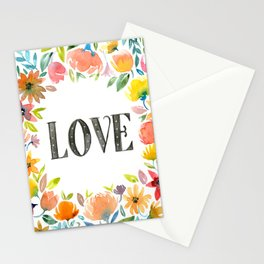 Watercolor flowers, LOVE Stationery Cards