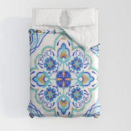Hand Painted Moroccan Tiles - Aqua and Gold Comforters