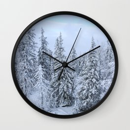 Snowy forest at the White Mountain Wall Clock