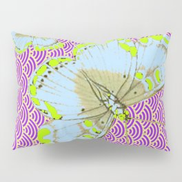 CHARTREUSE-WHITE EXOTIC BUTTERFLY Pillow Sham