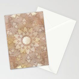 DESERT QUEEN - Bronze Mandala on Gold Stationery Cards
