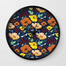 Flower Petals and Bees Navy Wall Clock