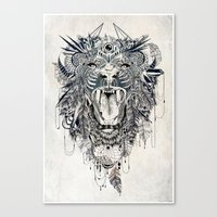 hipster lion Canvas Prints featuring Lion by Feline Zegers