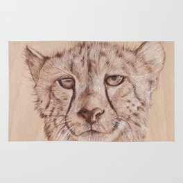 Cheetah - Drawing by Burning on Wood - Pyrography Art Rug