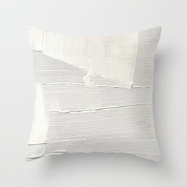 Relief [1]: an abstract, textured piece in white by Alyssa Hamilton Art Throw Pillow