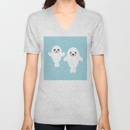 set Funny white fur seal pups, cute winking seals with pink cheeks and big eyes. Kawaii animal Unisex V-Neck