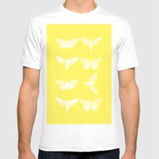 Yellow Moth's; MEDIUM White Mens Fitted Tee