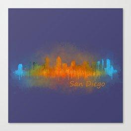San Diego California City Skyline Watercolor v0 Canvas Print