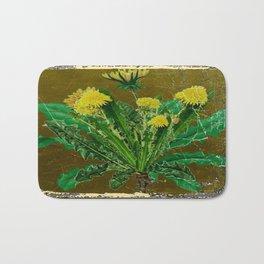 Antique Style Grundy Avocado Color Dandelion Print Art Bath Mat
