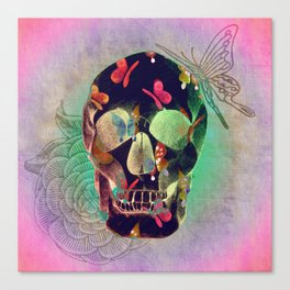 Colorful Hand Drawn Skull with Butterflies on Canvas Canvas Print