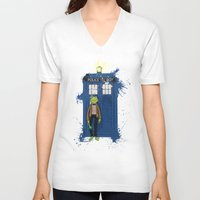 kermit V-neck T-shirts featuring Doctor Who Kermit by Roe Mesquita