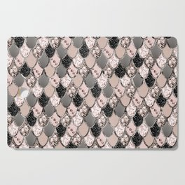 Rose Gold Blush Mermaid Princess Glitter Scales #1 #shiny #decor #art #society6 Cutting Board
