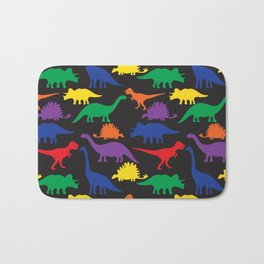 Dinosaurs - Black Bath Mat
