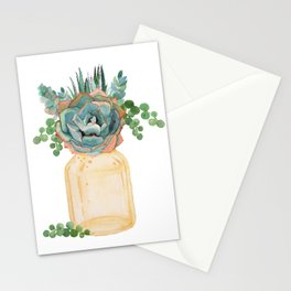 Succulents in Mason Jar Stationery Cards