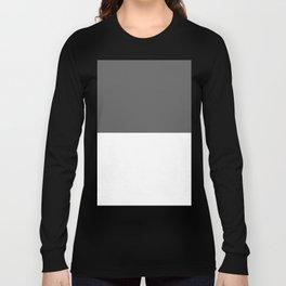 White and Dark Gray Horizontal Halves Long Sleeve T-shirt