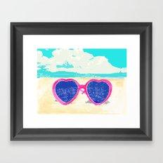 Sunglasses on beach Framed Art Print