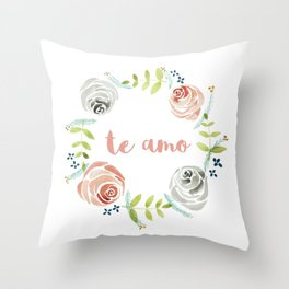'I Love You' in Spanish - Floral Wreath Throw Pillow