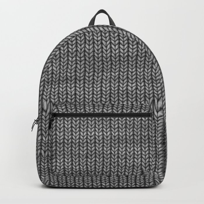Antiallergenic Hand Knitted Grey Wool Pattern - Mix & Match with Simplicty of life Backpack