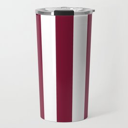 Claret purple - solid color - white vertical lines pattern Travel Mug