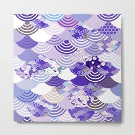 Nature background with japanese sakura flower, Cherry, wave circle. Ultra Violet Color of the Year Metal Print