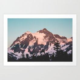 Pink Cascade Mountain Art Print