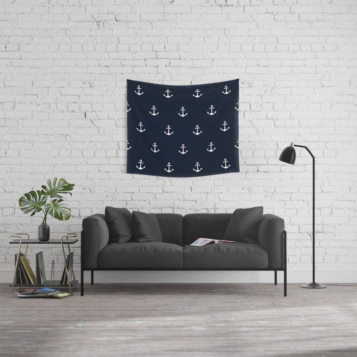 Dark Blue Anchor Pattern Wall Tapestry