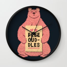 Cute Bear Free Cuddles Pink Wall Clock
