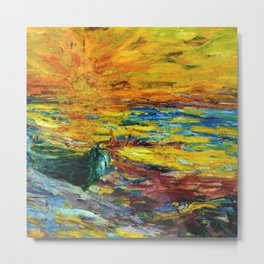 Late Summer Beach Sunset with waves and boat landscape painting by Emil Nolde Metal Print
