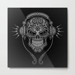 Gray and Black DJ Sugar Skull with Headphones Metal Print