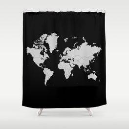 Minimalist World Map Gray on Black Background Shower Curtain