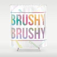 bathroom Shower Curtains featuring BATHROOM SERIES - Brushy Brushy! by Noonday Design