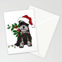Black and White Christmas Schnauzer Stationery Cards