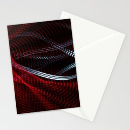 Colorful and abstract lines curved shapes on black background. Abstract light painting. Stationery Cards