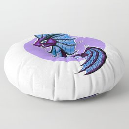 Purple Water Dragon White Background Floor Pillow