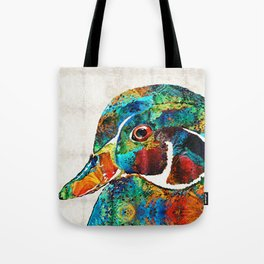 Colorful Wood Duck Art by Sharon Cummings Tote Bag