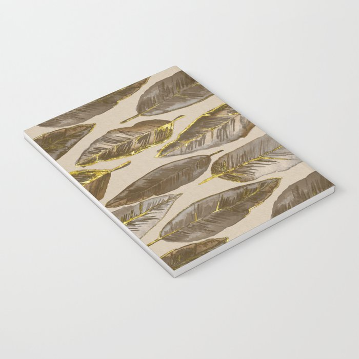 Gold Feather Pattern brown beige Notebook