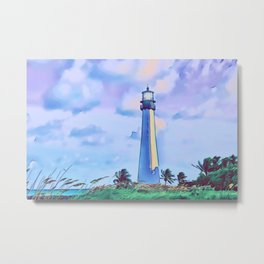 Cape florida lighthouse and Biscayne bay artwork Metal Print
