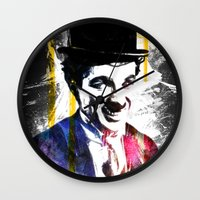 charlie chaplin Wall Clocks featuring charlie chaplin by manish mansinh