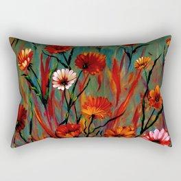 Muted Fiery Wildflowers Rectangular Pillow