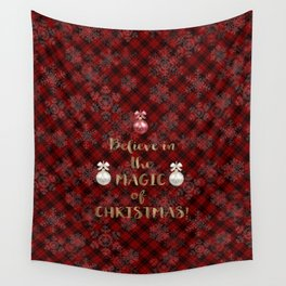 Red Plaid Snowflakes Believe in the magic of Christmas Typography Wall Tapestry