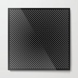 Tiny Paw Prints Grey on Black Pattern Metal Print