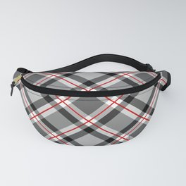 Large Modern Plaid, Black, White, Gray and Red Fanny Pack