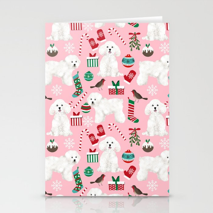 Bichon Frise Pink Christmas Holiday Themed Pattern Print Pet Friendly Dog Breed Gifts Stationery Cards