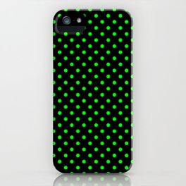 Polka dots Green dots over black iPhone Case