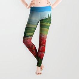 Italian Poppy Field Leggings