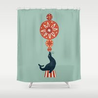 seal Shower Curtains featuring Circus Seal by Picomodi