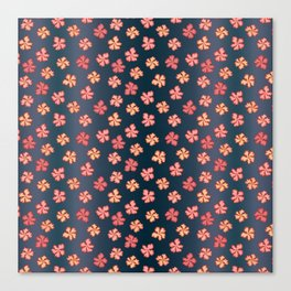 1960s Flowers on blue Canvas Print