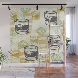 Dad Is Home Retro Midcentury Whiskey Pattern Wall Mural